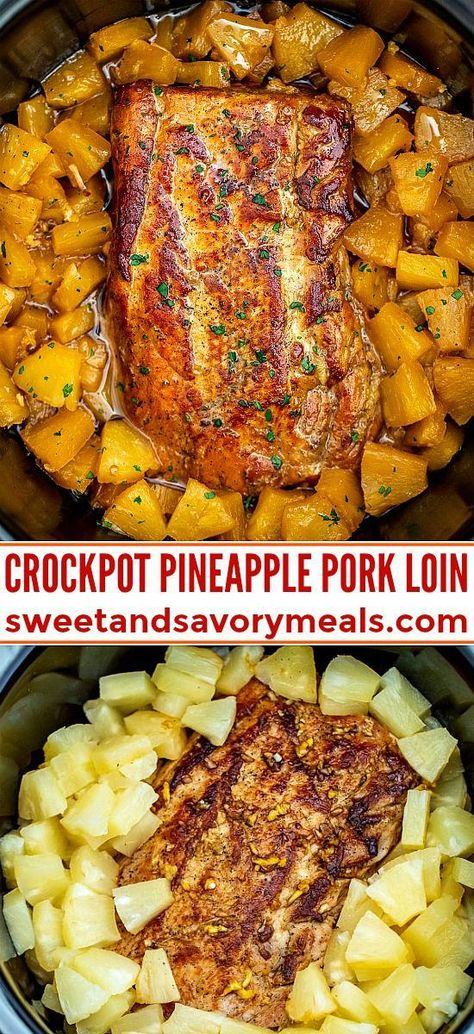 Slow Cooker Pineapple Pork is delicious and tender all you need is just 5 ingredients A great family dinner with a tasty tropical twist pork slowcooker crockpot porkrecipes sweetandsavorymeals pineapplepork chickenrecipe dinner fish Crock Pot Recipes, Crockpot Dishes, Crock Pot Cooking, Pork Dishes, Meat Recipes, Recipies, Healthy Pork Recipes, Chicken Recipes, Pizza Recipes