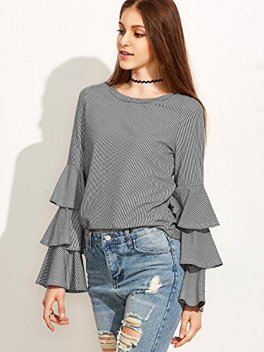 742118add4 SheIn Women's Striped Layered Bell Sleeve Ruffle Blouse - Grey Small at  Amazon Women's Clothing store: