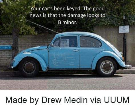 Your car's been keyed. The good news is that the damage looks to B minor.
