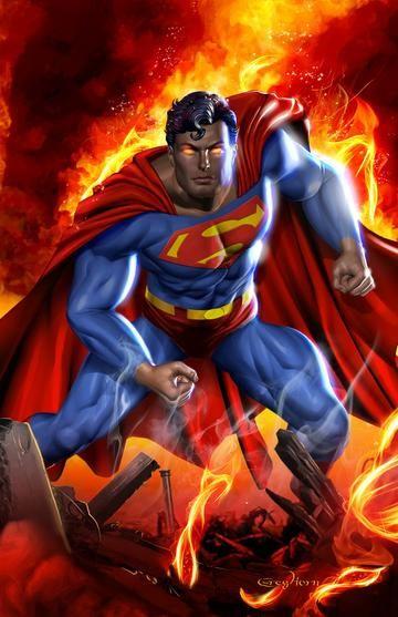 Superman Man On Fire High Quality 11 X 17 Digital Print
