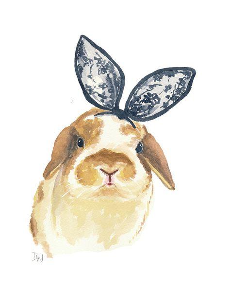 Bunny Rabbit Watercolour Painting - Original Art, Bunny Ears, Black Lace, 8x10. $40.00, via Etsy.