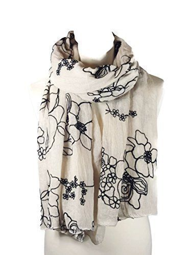 World Of Shawls Uk Seller Ladies Embroidered Floral Scarf Wrap Shawl Pashmina Style Warm And Soft Beige Bla Floral Scarf Shawls And Wraps Embroidered Scarf