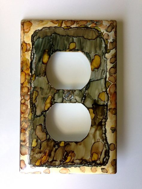 Hand Painted Alcohol Ink Outlet Plate Cover in Beige, Browns and Black by CraftyColettes, on Etsy