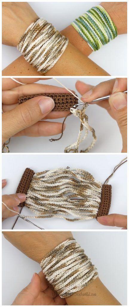 Mode Crochet, Diy Crochet, Crochet Crafts, Yarn Crafts, Crochet Projects, Macrame Projects, Crochet Bracelet Pattern, Bracelet Patterns, Crochet Earrings