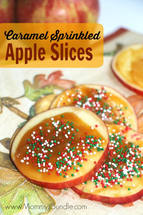 One of the EASIEST apple recipes for the Fall! Top apple slices with caramel and sprinkles for a delicious snack idea your kids will love!