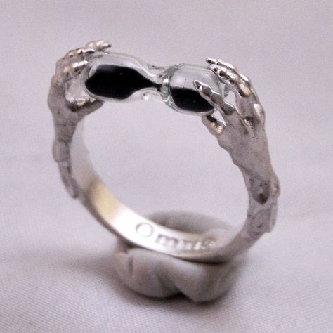 Sterling silver claw ring with black sand hourglass ~ memento mori