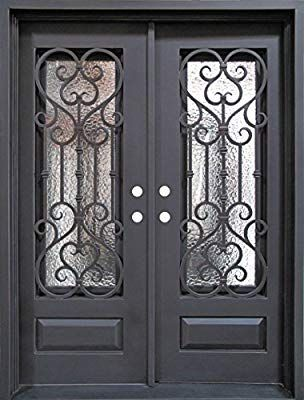 Holiday Sale Free Bug Screens Ddc Double Wrought Entry Door 12 Gauge Steel Right Hand Inswing Doors W I Wrought Iron Doors Iron Doors Iron Door Design