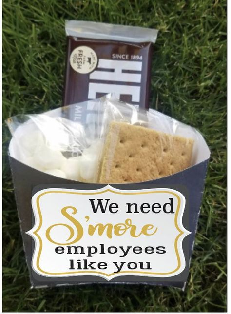 Employee staff office client appreciation Smores gift bag toppers | company picnic favor boxes | bus