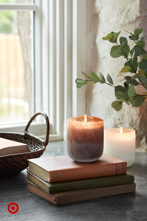 These textured glass candles will add a seasonal, fall scent and a feeling of warmth to any space.