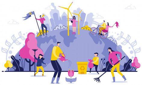 Planet Wide Garbage Disposal Flat Illustration.