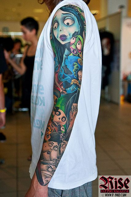 "yoursmilecreepsmeout: "" One of the better Tim Burton sleeves I've seen. Jack Skellington has really been permanently butchered on some people. """