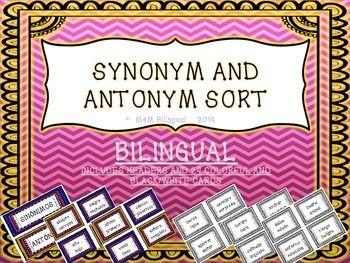 Synonym Antonym Word Sort Game Word Sorts Elementary Spanish