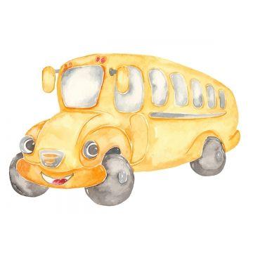 Watercolor Cute Cartoon School Bus Clipart Auto Automobile Baby