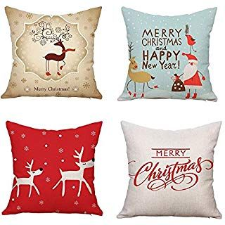 Cotton Linen Christmas Animal Gifts Home Decorative Pillow Case Cushion Cover