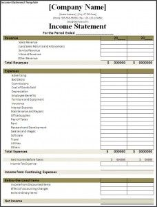 Income Statement Template Income Statement Personal Financial
