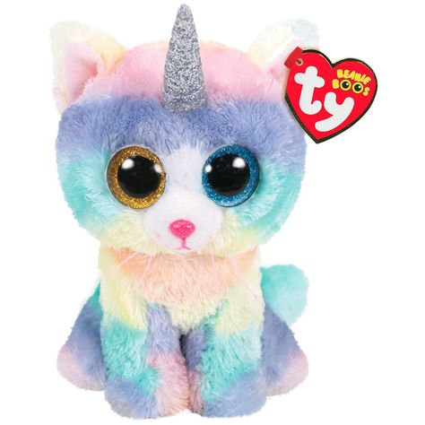 Ty Beanie Baby Soft Toy Multicoloured Heather The Unicorn Cat for sale online