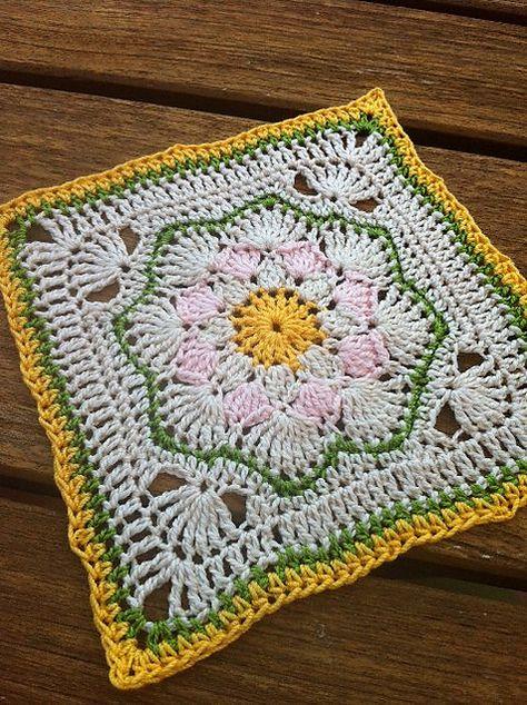 "Day 25: 12"" Block of the Day - Harriett Square 12"" by Carolyn Christmas  Free Pattern: http://www.ravelry.com/patterns/library/harriett-square-12  #TheCrochetLounge #12inch #grannysquare Pick #crochet"