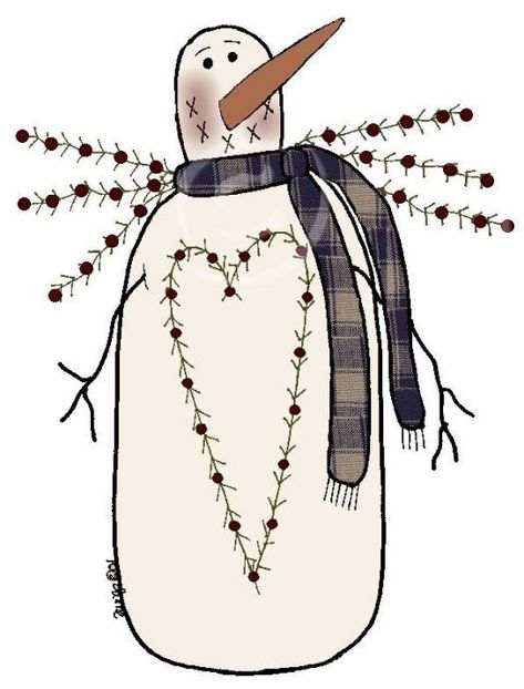 Primitive Christmas Clipart - Clipart Suggest Primitive Stitchery, Primitive Patterns, Primitive Snowmen, Primitive Crafts, Country Primitive, Wooden Snowmen, Wood Crafts, Primitive Christmas, Christmas Snowman