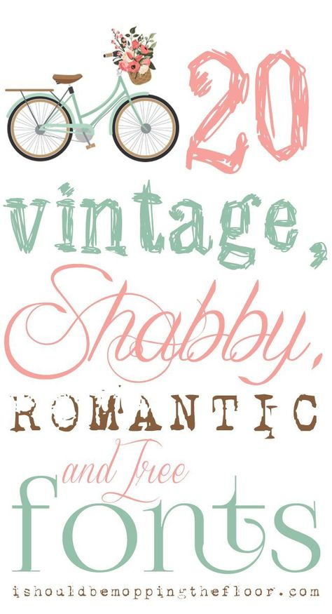 To combine my typography love with my love for all things vintage and shabby chic should have probably happened years ago. But, these are my current faves in the land of all things free, vintage, shabby, and romantic fonts.