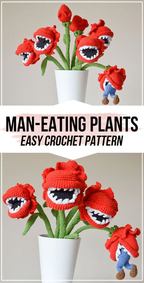 crochet Bouquet of man-eating plants pattern - easy crochet flower pattern for beginners Quick Crochet Patterns, Halloween Crochet Patterns, Crochet Designs, Crochet Men, Crochet Daisy, Crochet Flowers, Crochet Bouquet, Plants Pattern, Crochet Flower Tutorial