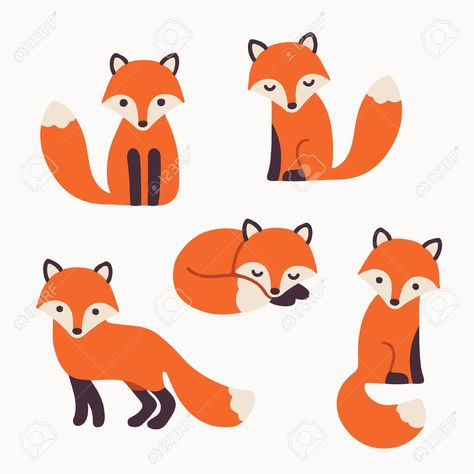 Set of cute cartoon foxes in modern simple flat style. Isolated vector illustration Stock Vector - 48492802