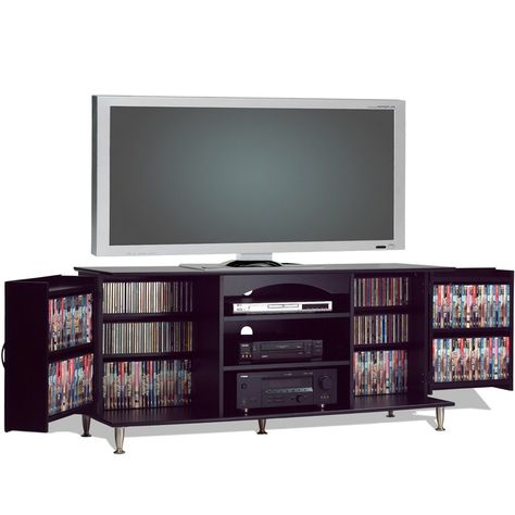 TV Console with Media Storage - this console is the ultimate in media storage - for the home entertainment freak. The great part is that the doors close to conceal the media, leaving the center peripherals accessible.