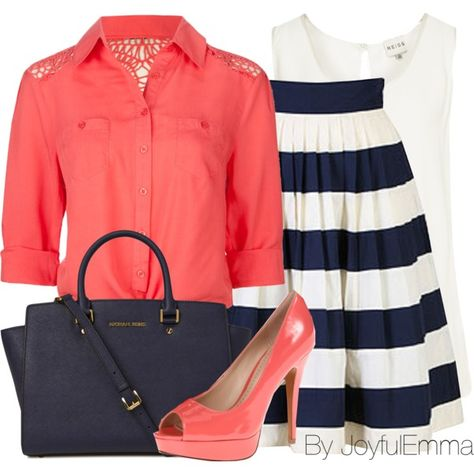 """Stripes + Coral"" by joyfulemma on Polyvore"