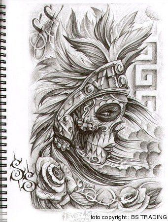 2017 Trend Tattoo Trends Tattoo Designs Chicano Art Skull Tattoo Design Aztec Muerta Steve Soto Chicano Art Tattoos Aztec Tattoo Designs Aztec Tattoo