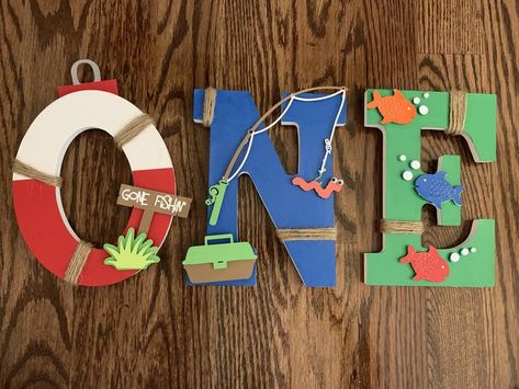 The Big One birthday Letters Fishing One Letters Gone Boys First Birthday Party Ideas, First Birthday Pictures, First Birthday Decorations, Birthday Themes For Boys, Baby Boy First Birthday, First Birthday Gifts, Boy Birthday Parties, Birthday Letters, Gold Birthday