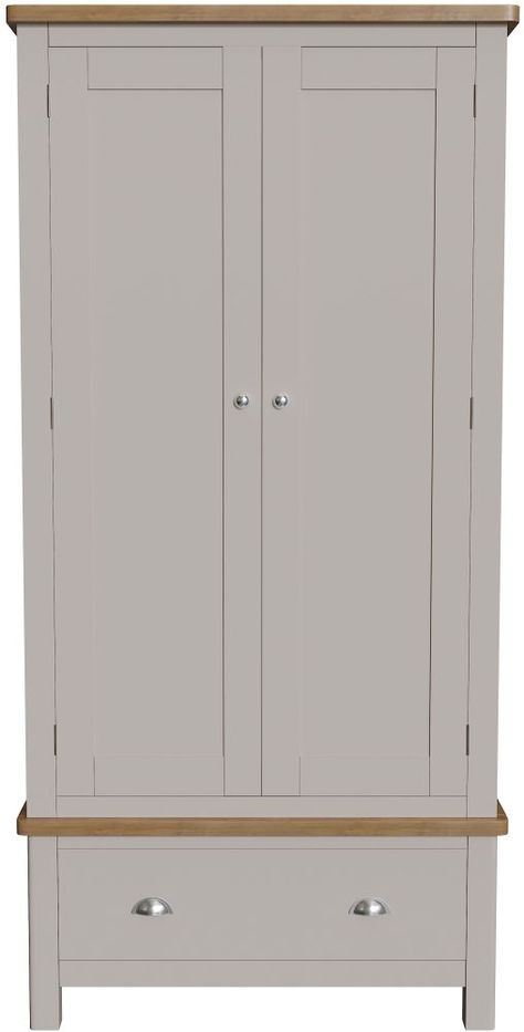 Portland Dove Grey Painted 2 Door 1 Drawer Wardrobe Grey Paint Hanging Rail Drawers