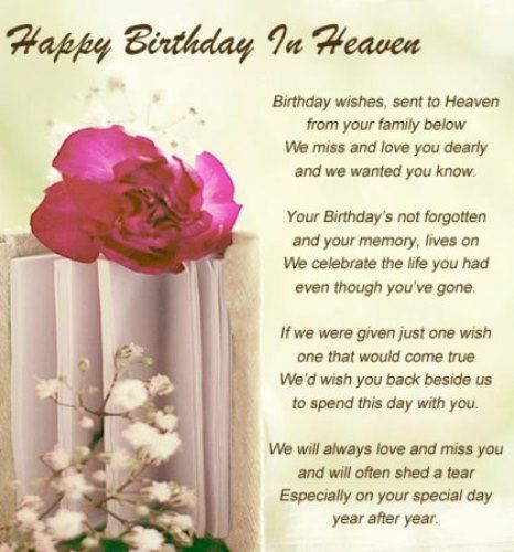 Happy birthday in heaven quotes for friends grandma dad ...