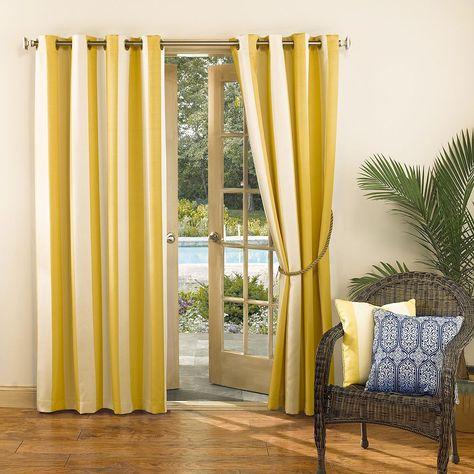 Sun Zero Uv Blocking Riviera Indoor Outdoor Woven Stripe Curtain Outdoor Curtains Panel Curtains Curtains