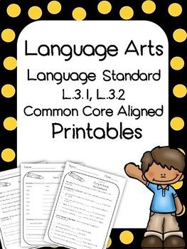 3rd Grade Language Arts Printables And Assessments Common Core