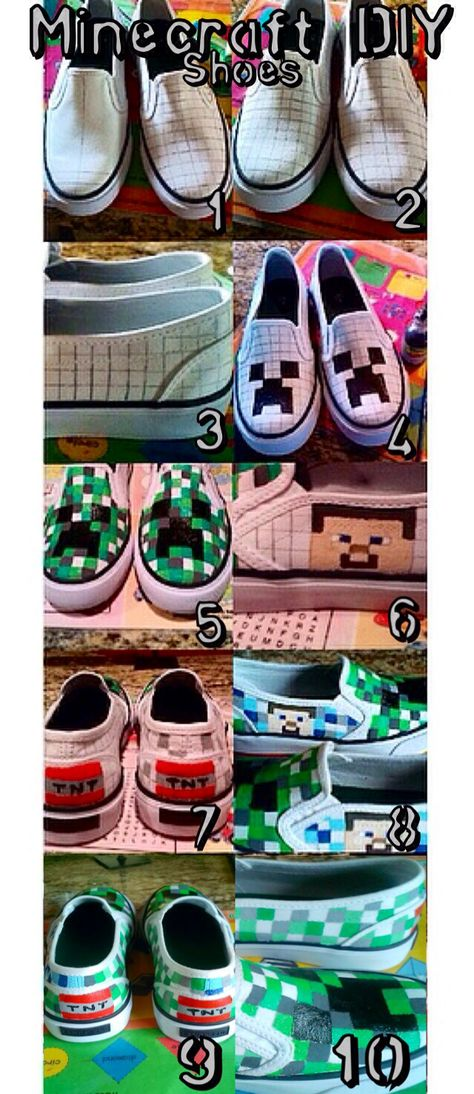 Steps for DIY Minecraft shoes featuring Creeper, Steve, and TNT. All you need is a pair of white shoes, pencil, ruler, and fabric paint.
