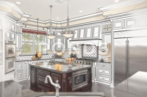 Photograph Beautiful Custom Kitchen Design Drawing With Ghosted