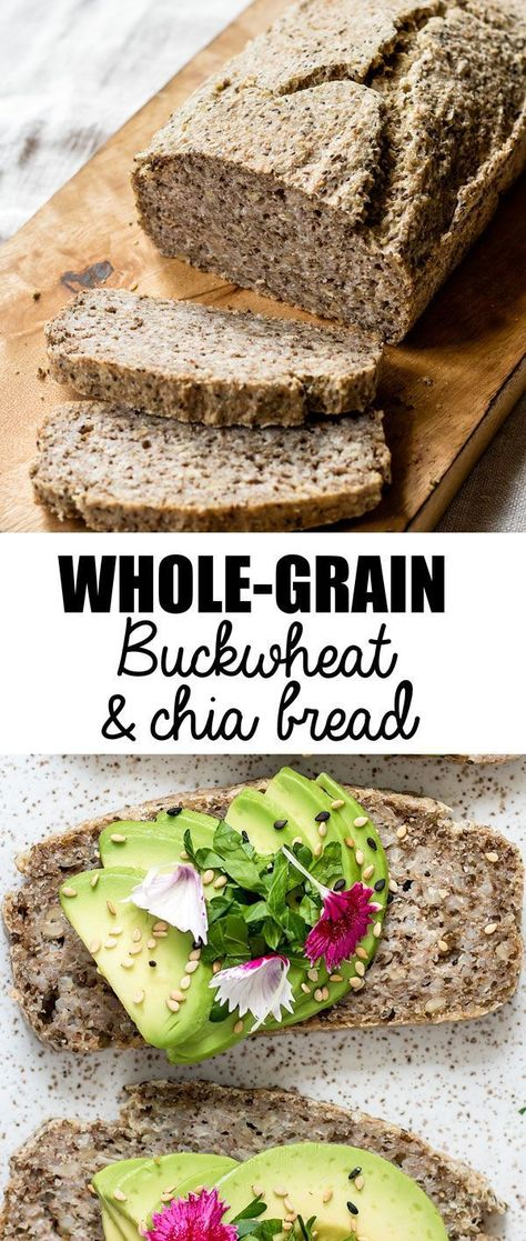 """buckwheat & chia bread This whole-grain buckwheat & chia bread is a hearty bread that is naturally vegan and gluten-free! You won't believe how easy this bread is to make-no yeast required!Easy Love """"Easy Love"""" may refer to: Gluten Free Baking, Gluten Free Recipes, Vegan Recipes, Drink Recipes, Celiac Recipes, Buckwheat Recipes, Is Buckwheat A Grain, Patisserie Sans Gluten, Bread Recipes"""