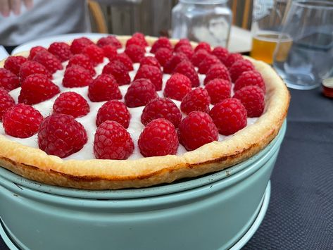 For #dessert on #easter this year, I adapted a couple #recipes to make a dreamy #tart: rough puff #pastry, #lemoncurd and #creamcheese filling, and fresh #raspberries arranged on top. Juicing a lemon into the filling as I added the curd gave it the extra tart taste I was craving. I used a springform instead of a tart pan, with a blind bake. The tin made for a great impromptu stand! #lemoncurdrecipe #lemoncurdtart #easterdessert #raspberrydessert