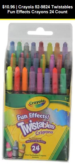 Crayola 9824 Twistables Crayons 24 Pack Fun Effects Colors Art School NEW!