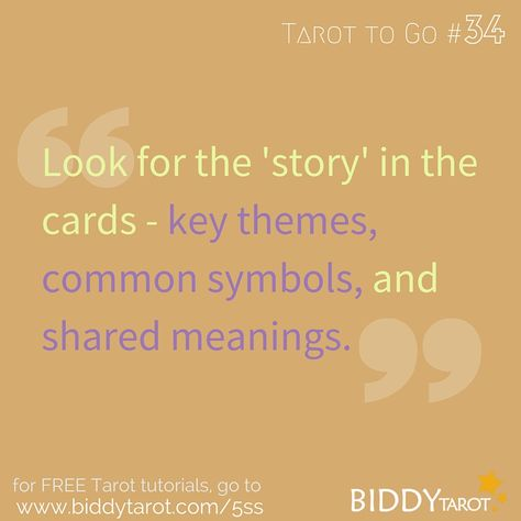 Look for the 'story' in the cards - key themes, common symbols, and shared meanings. #TarotTips #TarotToGo biddytarot.com