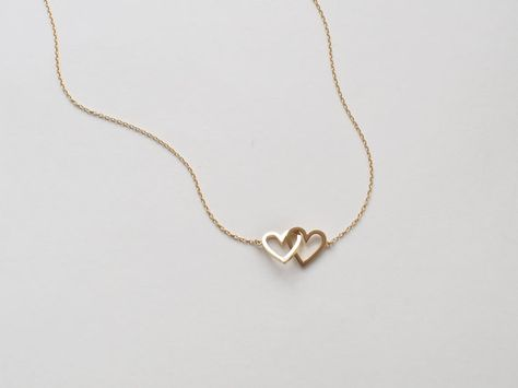 20% OFF Simple Double Heart Necklace Dainty Heart by UrbanLayered