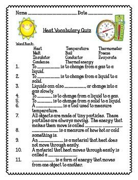 Heat Energy Vocabulary Quiz Science Resources Vocabulary