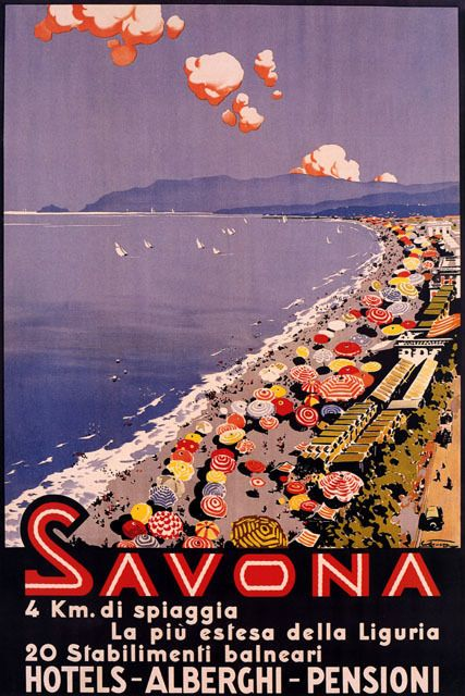 Italy Savona Largest Beach Liguria Umbrellas Summer Travel Vintage Poster Repro