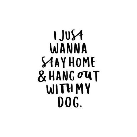 I Just Wanna Stay Home And Hang Out With My Dog - Funny Dog Quote Typography Digital Art Print
