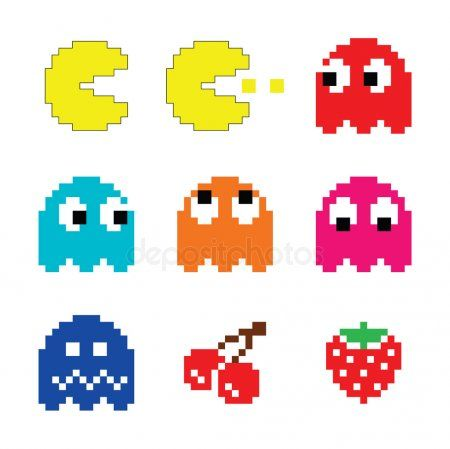 Pacman And Ghosts 80 S Computer Game Icons Set Stock Vector Affiliate Computer Pacman Ghosts G Pacman Illustration Artwork Drawing Gaming Computer
