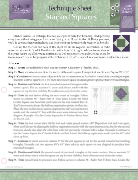 for Triangle Pizazz Quilting Blocks Studio 180 Design Technique Sheet
