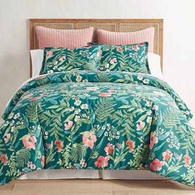 We Love Our Amelia Foral Comforters And Shams Because Their Tropical Forest Print Creates A Relaxing Ambienc Sham Bedding Bed Linens Luxury Luxury Bedding Sets