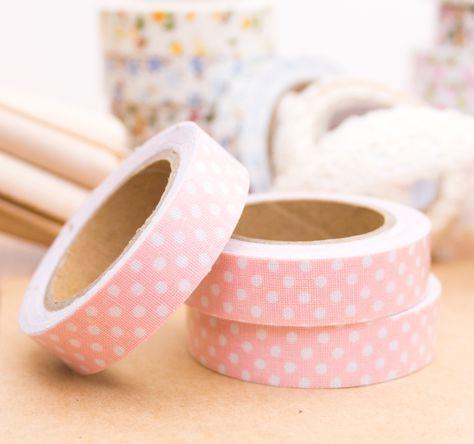 Preciosa Cinta De Tela Adhesiva O Fabric Tape En Color Rosa Claro Y Lunares Blancos Para Decorar Tus Packagings Cinta De Tela Color Rosa Claro Bodas Y Eventos