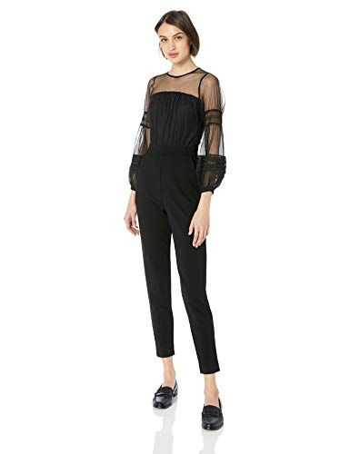 French Connection Womens Black Lace and Sheer Fitted Straight Leg Jumpsuit