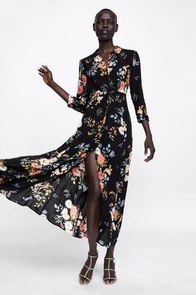 Image 1 Of Long Floral Print Dress From Zara Floral Print Dress Long Zara Fashion Women Zara Floral Dress