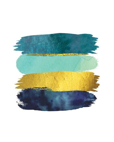 Brushstroke Abstract Printable Art Blue Teal and Gold Art image 2